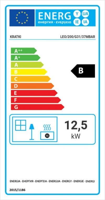 Kratki LEO 200 (LPG) energetický štítok krb-pec