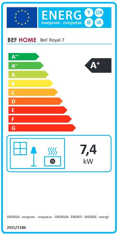 BeF Royal 7 energetický štítok krbyonline