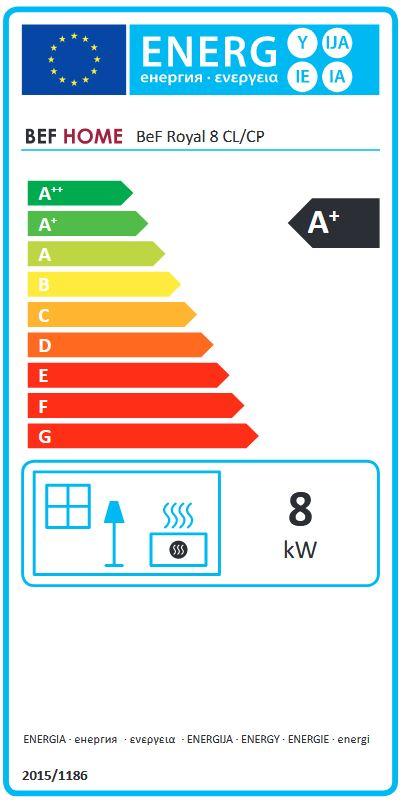 BeF Royal 8 CP energetický štítok krbyonline