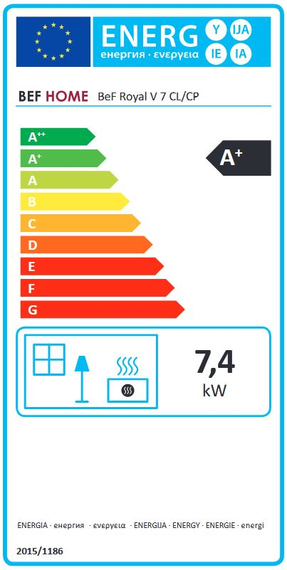 BeF Royal V 7 CL energetický štítok krbyonline