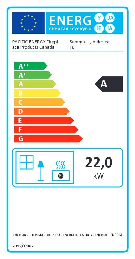 Pacific Energy Alderlea T6 energetický štítok krbyonline