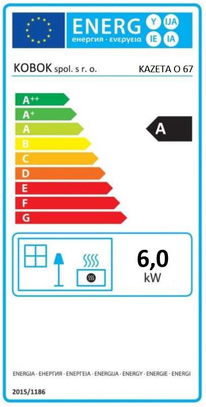 Kobok Kazeta O LD 67 energetický štítok krb-pec