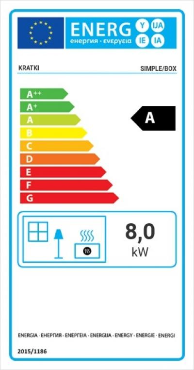 Kratki SIMPLE 8 BOX energetický štítok krb-pec