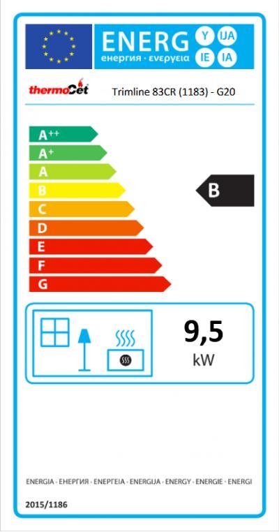Trimline 83 Corner energetický štítok krb-pec