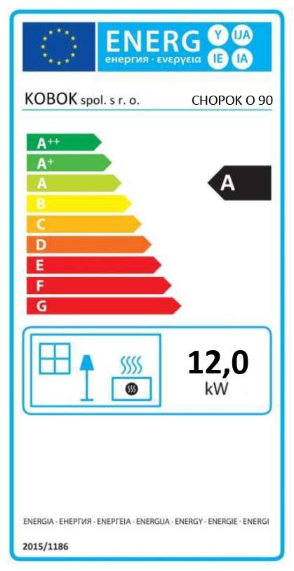 Kobok Chopok O 90 energetický štítok krbyonline