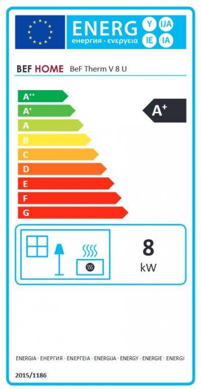 BeF Therm V 8 U energetický štítok krb-pec