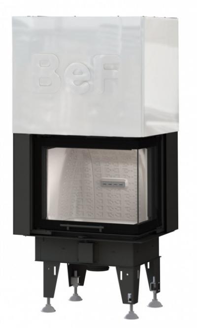 BeF Therm V 7 CP oceľová krbová vložka výsteľka corten pravé rohové presklenie výsuvné dvierka 7 kW