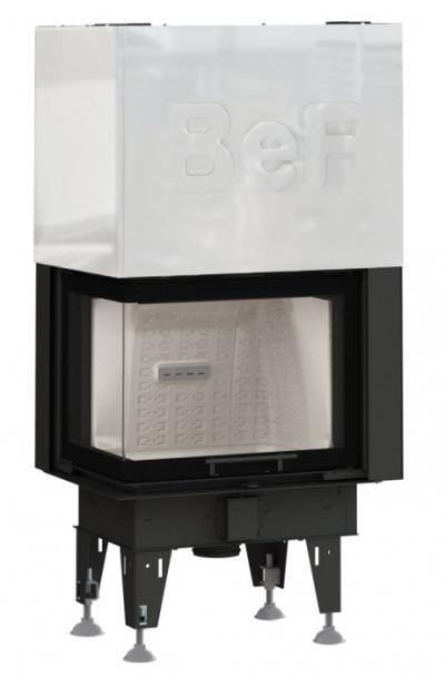 BeF Therm V 8 CL oceľová krbová vložka výsteľka corten ľavé rohové presklenie výsuvné dvierka 8 kW
