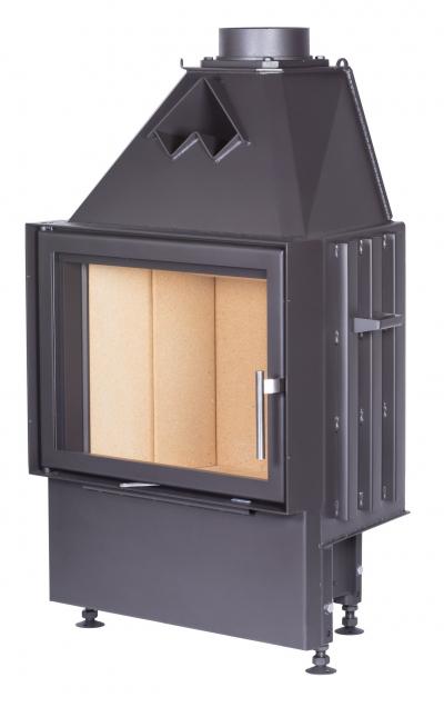 Kobok Chopok 670/450 510 570 sík üvegű, légfűtéses, acél kandalló samott tűztérrel