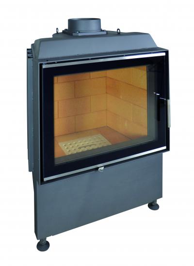 Kobok Kazeta 670/450 510 570 sík üvegű, légfűtéses, acél kandalló samott tűztérrel