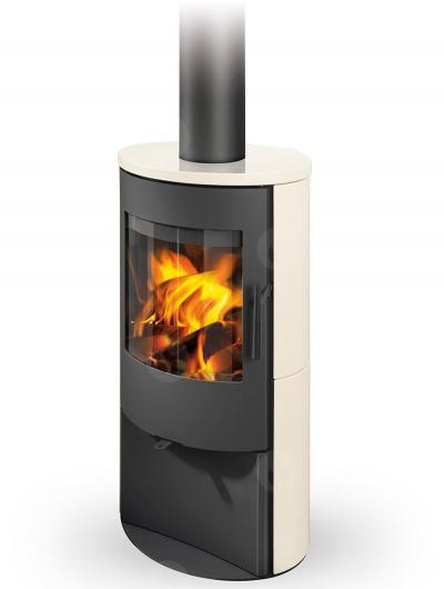 Romotop ALPERA E01 modern fatüzelésű kerámia kályha samott tűztérrel