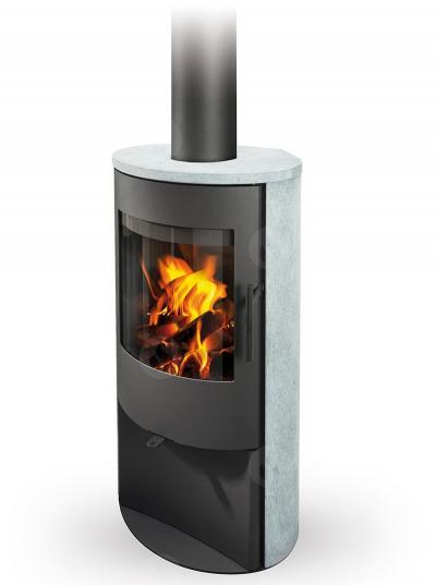 Romotop ALPERA E02 modern fatüzelésű zsírkő kályha samott tűztérrel