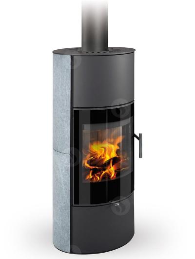 Romotop LAREDO 02 AKUM modern hőtárolós zsírkő kandallókályha samott tűztérrel