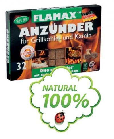 Ekologický podpaľovač FLAMAX, 1 balenie 32 ks