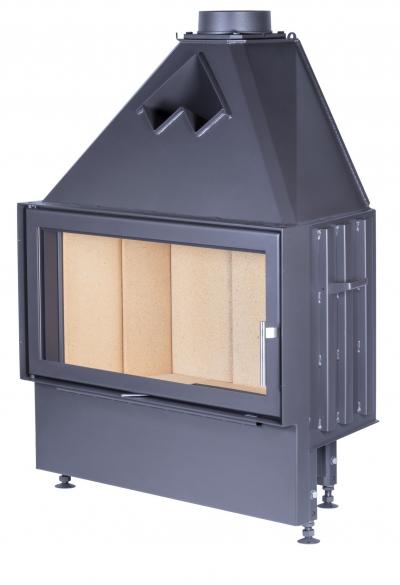 Kobok Chopok 900/450 sík üvegű, légfűtéses, acél kandalló samott tűztérrel