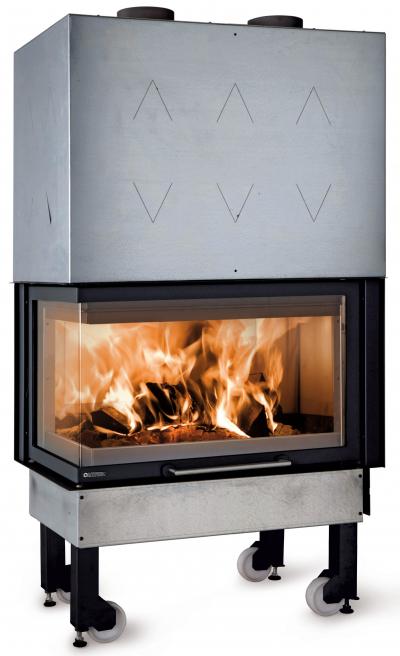 La Nordica Monoblocco 800 légfűtéses sarki kandallóbetét öntvény tűztérrel és liftes tolóajtóval