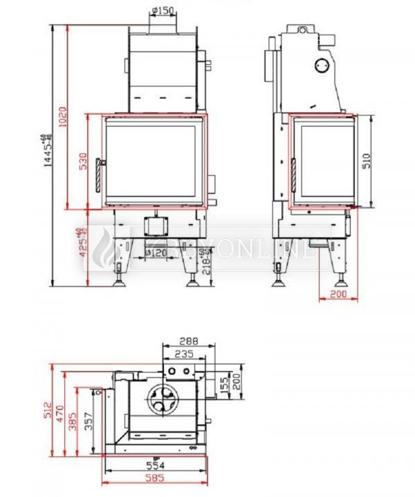 BeF Aquatic WH 60 CL teplovodná rohová krbová vložka s dvojitým presklením krbyonline