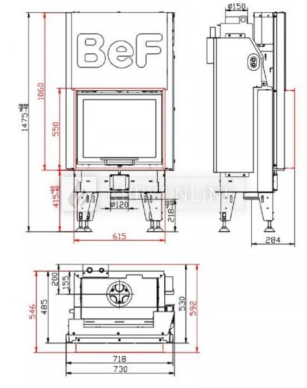 BeF Aquatic WH V 60teplovodná rovná krbová vložka s výsuvnými dvierkami krbyonline