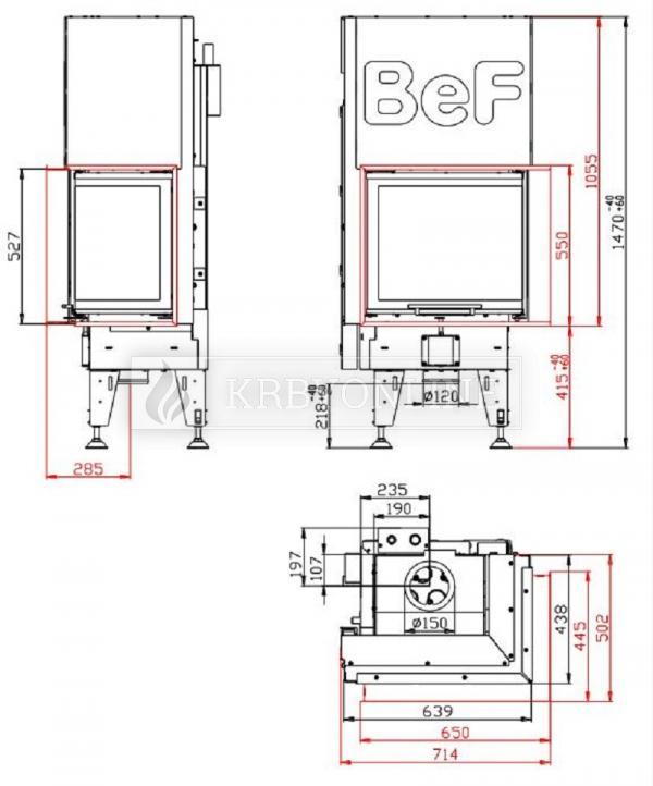 BeF Aquatic WH V 60 CP teplovodná rohová krbová vložka s výsuvnými dvierkami krbyonline