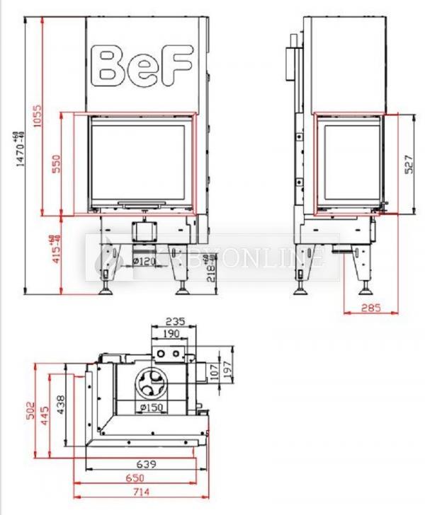 BeF Aquatic WH V 60 CL teplovodná rohová krbová vložka s výsuvnými dvierkami krbyonline