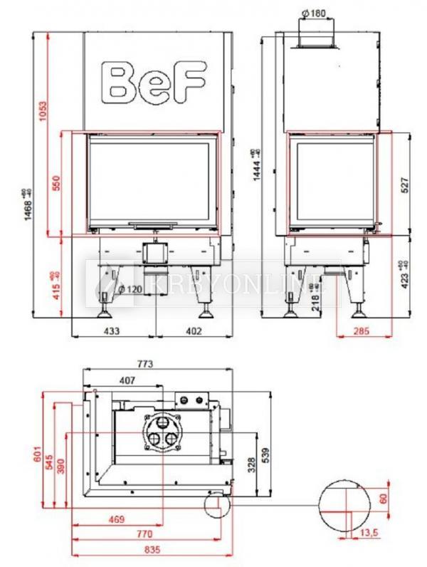 BeF Aquatic WH V 80 CL teplovodná rohová krbová vložka s výsuvnými dvierkami krbyonline