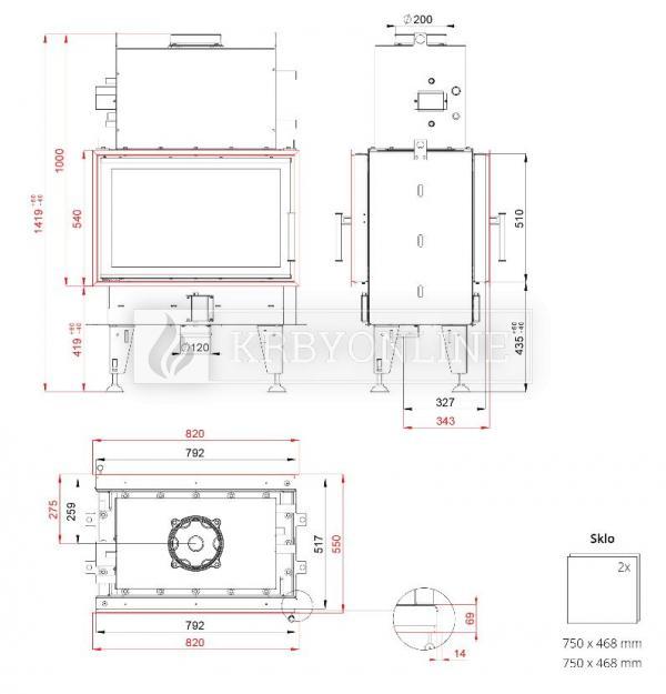 BeF Twin 8 Aquatic II teplovodná obojstranná krbová vložka s s otváraním do boku krbyonline