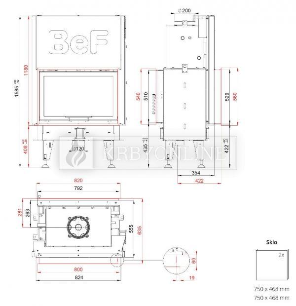 BeF Twin V 8 Aquatic II teplovodná obojstranná krbová vložka s výsuvnými dvierkami krbyonline