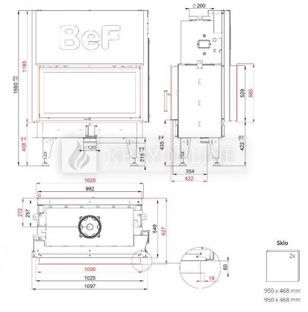 BeF Twin V 10 Aquatic II teplovodná obojstranná krbová vložka s výsuvnými dvierkami krbyonline