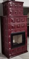 Hein BARACCA OU červená šarlátová klasické keramické krbové kachle s veľkým ohniskom krbyonline