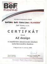 BeF Home certifikát - Autorizovaný dealer - AZ DESIGN - Tibor Chudoba krbyonline