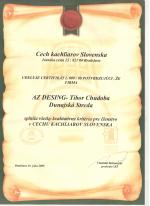 Cech kachliarov Slovenska - Certifikát č. 009/08 AZ DESIGN - Tibor Chudoba krbyonline