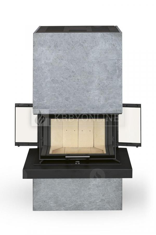 Romotop Cara C dizajnový trojstranný krb obložený mastencom a výsuvnými dvierkami krbyonline