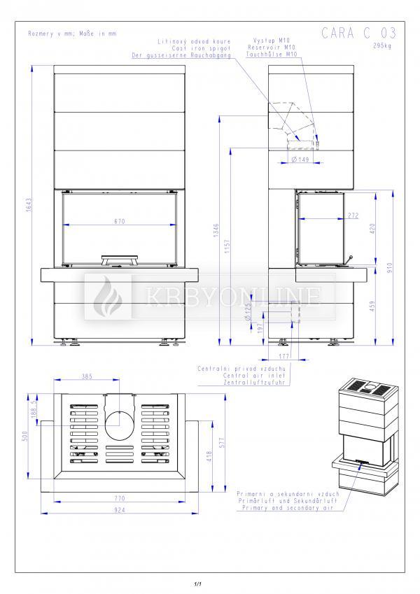Romotop Cara C 03 plech dizajnový trojstranný krb s výsuvnými dvierkami krbyonline