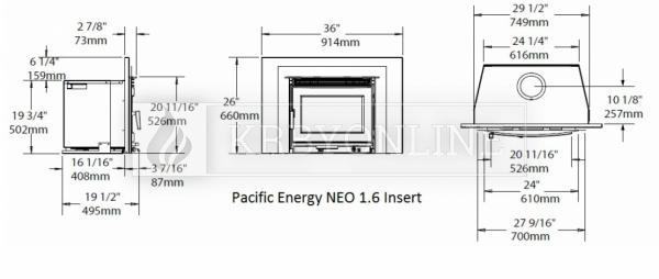 Pacific Energy Neo 1.6 Insert rovná oceľová krbová vložka so sekundárnym spaľovaním krbyonline
