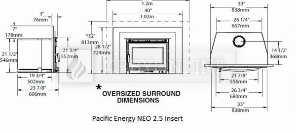 Pacific Energy Neo 2.5 Insert rovná oceľová krbová vložka so sekundárnym spaľovaním krbyonline