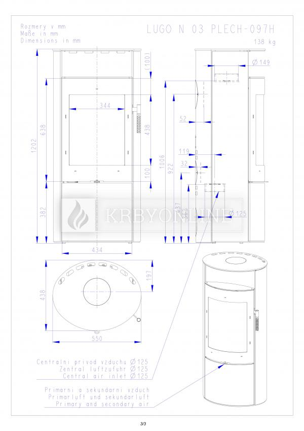 Romotop LUGO N 03 krbové kachle s plechovým obložením krbyonline