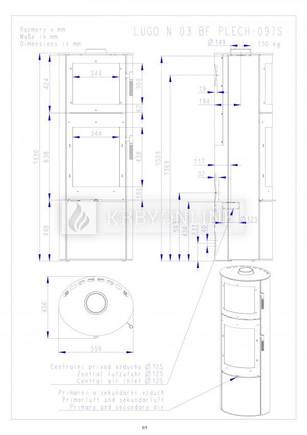 Romotop LUGO N 03 BF krbové kachle s plechovým obložením a vstavanou rúrou krbyonline