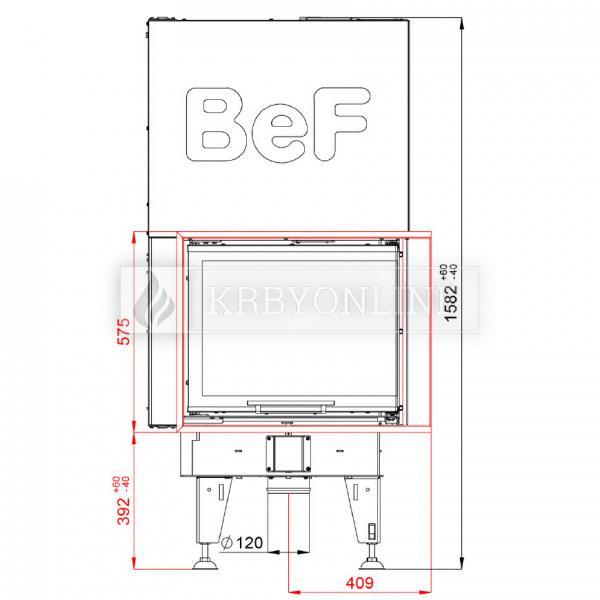 BeF Royal V 7 CP teplovzdušná krbová vložka rohová pravá s výsuvnými dvierkami krbyonline