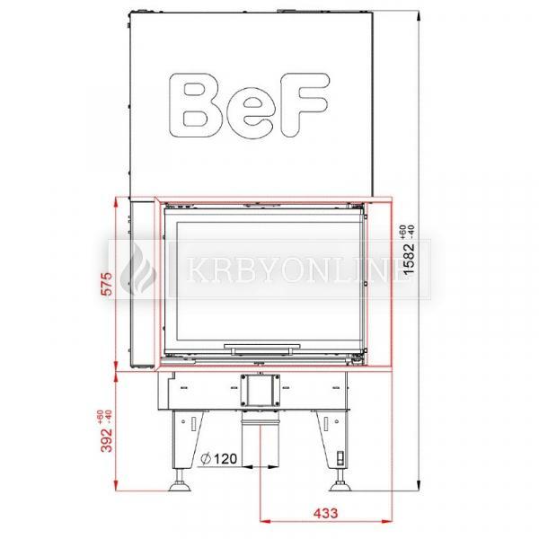 BeF Royal V 8 CP teplovzdušná krbová vložka rohová pravá s výsuvnými dvierkami krbyonline