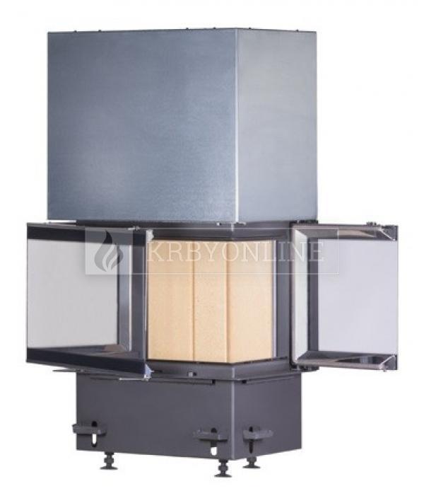 Kobok Chopok 2R90 S/380 VD 805/450 510 570 teplovzdušná trojstranná krbová vložka s výsuvnými dvierkami krbyonline