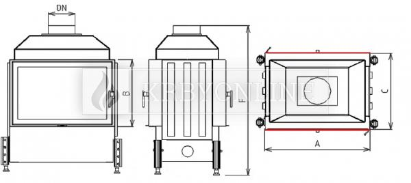 Kobok Kazeta O LD 730/450 510 570 teplovzdušná krbová vložka priehľadná krbyonline