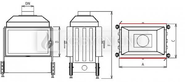 Kobok Kazeta O LD 780/450 510 570 teplovzdušná krbová vložka priehľadná krbyonline