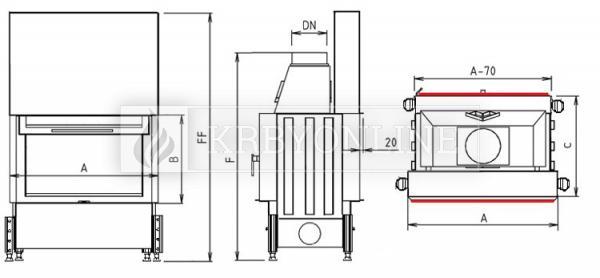 Kobok Chopok O 90 VD 970/450 510 570 teplovzdušná oceľová obojstranná krbová vložka s výsuvnými dvierkami krbyonline