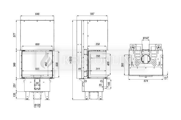 Defro Home Intra XSM C G teplovzdušná krbová vložka s trojstranným presklením a výsuvným otváraním krbyonline
