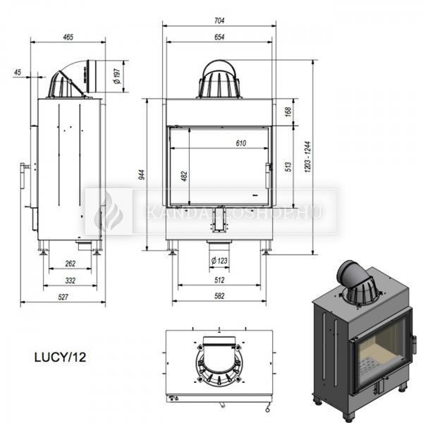 Kratki Lucy 12 modern nagy sík üvegű acél kandallóbetét kandalloshop