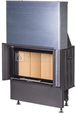 Kobok Chopok 970/450 510 570 sík üvegű, légfűtéses, acél kandalló samott tűztérrel és liftes tolóajtóval