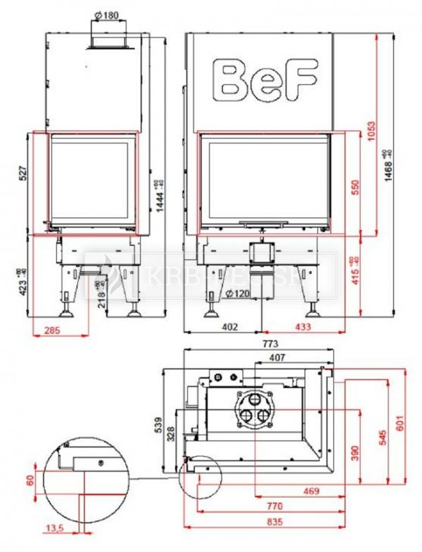 BeF Aquatic WH V 80 CP kvalitná, dizajnová teplovodná krbová vložka s výsuvnými dvierkami krb-pec