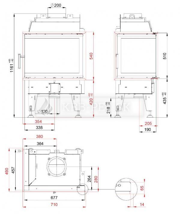 BeF Therm 8 CL kvalitná, dizajnová, moderná krbová vložka s otváraním do boku krb-pec