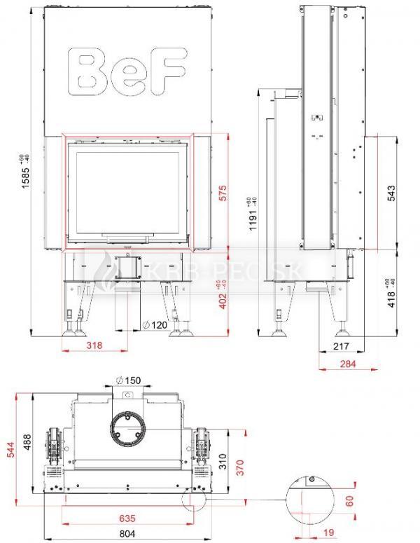 BeF Therm V 6 dizajnová krbová vložka s výsuvnými dvierkami krb-pec