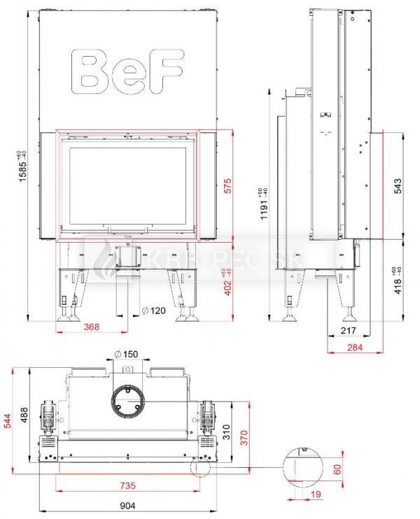 BeF Therm V 7 dizajnová krbová vložka s výsuvnými dvierkami krb-pec